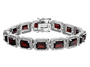 Pre-Owned Red Garnet Rhodium Over Sterling Silver Tennis Bracelet 30.46ctw