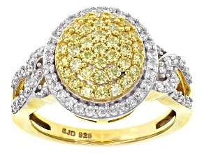 Pre-Owned Swarovski ® Yellow Zirconia & White Cubic Zirconia 18k Yellow Gold Over Silver Ring 1.75ct