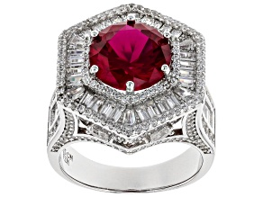 Pre-Owned Synthetic Red Corundum & White Cubic Zirconia Rhodium Over Sterling Silver Ring 13.10ctw