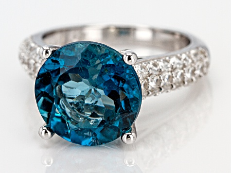 Pre-Owned London Blue Topaz Rhodium Over Silver Ring 7.51ctw