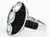 Pre-Owned Blue Aquamarine Sterling Silver Ring 3.10ctw