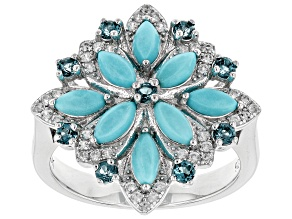 Pre-Owned Blue turquoise rhodium over silver ring .55ctw
