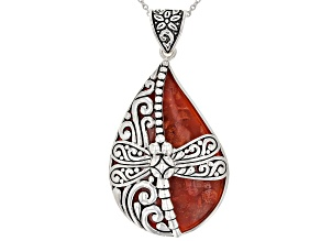 Pre-Owned Red Coral Rhodium Over Silver Pendant With Chain