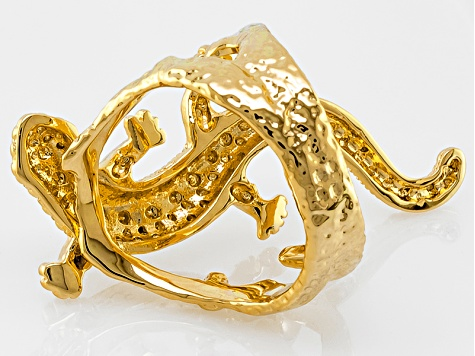 Pre-Owned 18k Yellow Gold Over Bronze Lizard Ring