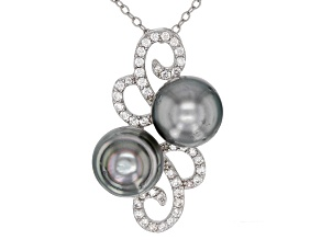 Pre-Owned 8-8.5mm Silver Cultured Tahitian Pearl 0.65ctw White Zircon Rhodium over Sterling Silver P