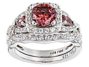 Pre-Owned Blush and White Cubic Zirconia Rhodium Over Sterling Silver Ring With Band 4.33ctw
