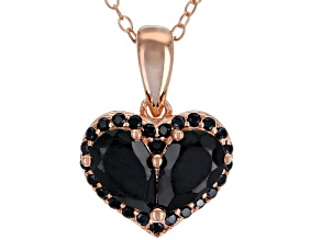 Pre-Owned Black Spinel 18k Rose Gold Over Silver Pendant with Chain 2.06ctw