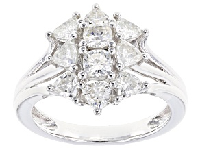 Pre-Owned Moissanite Fire® 1.56ctw Diamond Equivalent Weight Trillion And Cushion Cut Platineve™ Rin