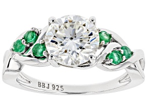 Pre-Owned Moissanite And Zambian Emerald Platineve Ring 1.90ct DEW.