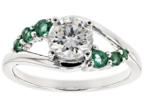 Pre-Owned Moissanite Fire® 1.00ct DEW Round And .29ctw Round Zambian Emerald Platineve™ Ring