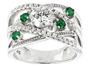 Pre-Owned Moissanite And Emerald Platineve Ring 1.28ctw DEW