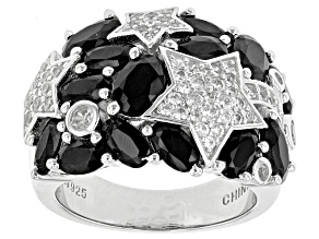 Pre-Owned Black Spinel Sterling Silver Ring 4.51ctw