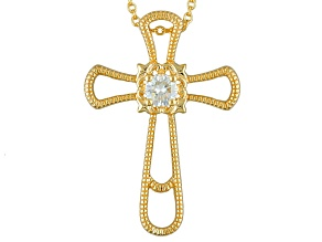 Pre-Owned Moissanite 14k Yellow Gold Over Silver Cross Pendant With Chain .50ctw DEW