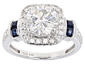 Pre-Owned Moissanite And Sapphire Platineve Ring 2.48ctw DEW.