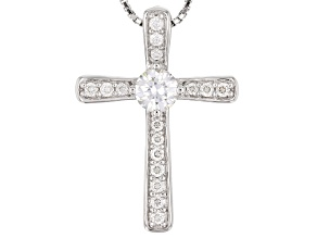 Pre-Owned Moissanite Platineve Cross Pendant 0.60ctw DEW