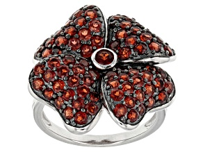 Pre-Owned Red Garnet Sterling Silver Floral Ring 3.41ctw
