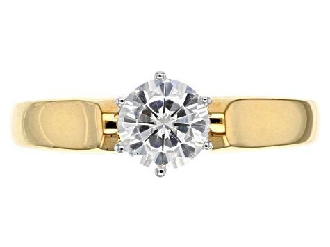 Pre-Owned Moissanite Fire® 1.00ct DEW Round 14k Yellow Gold Over Sterling Silver Ring