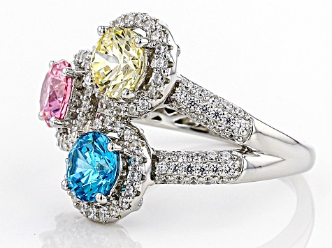 Pre-Owned Multicolor Cubic Zirconia Rhodium Over Sterling Silver Ring 5.32ctw