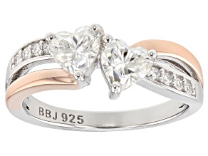 Pre-Owned Moissanite Platineve And 14k Rose Gold Over Platineve Ring 1.36ctw DEW