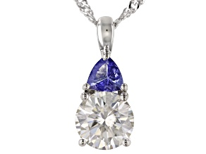 Pre-Owned Moissanite And Tanzanite Platineve Pendant 1.90ct DEW.
