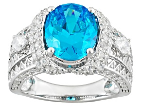Pre-Owned Blue And White Cubic Zirconia Rhodium Over Sterling Silver Ring 5.25ctw
