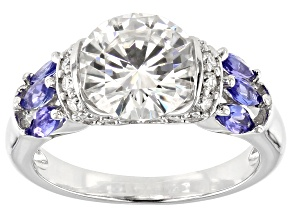 Pre-Owned Moissanite And Tanzanite Platineve Ring 3.10ctw DEW.
