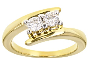 Pre-Owned Moissanite 14k Yellow Gold Over Silver Ring .46ctw DEW