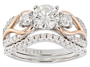 Pre-Owned Moissanite Platineve And 14k Rose Gold Platineve Ring with Band 1.78ctw DEW.