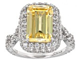 Pre-Owned Yellow And White Cubic Zirconia Rhodium Over Sterling Silver Ring 9.99ctw