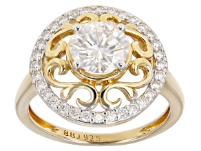 Pre-Owned Moissanite 14k Yellow Gold Over Silver Ring 1.52ctw DEW.