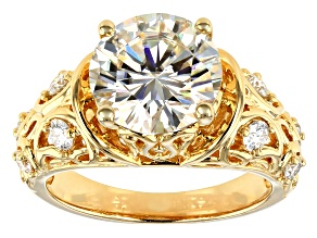 Pre-Owned Moissanite 14k Yellow Gold Over Silver Ring 3.98ctw DEW.