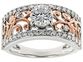 Pre-Owned Moissanite Platineve And 14k Rose Gold Two-Tone Ring 1.20ctw DEW.