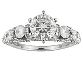 Pre-Owned Moissanite Fire® 2.90ctw Diamond Equivalent Weight Round Platineve™ Ring