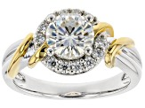 Pre-Owned Moissanite Platineve And 14k Yellow Gold Two-Tone Ring 1.44ctw DEW.
