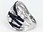 Pre-Owned Moissanite And Blue Sapphire Platineve Ring 1.30 ctw DEW