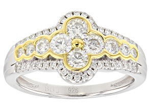 Pre-Owned Moissanite Platineve And 14k Yellow Gold Over Platineve Ring 1.16ctw DEW