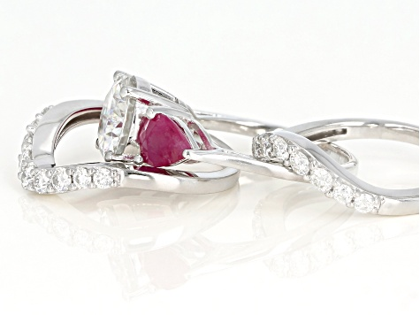 Pre-Owned Moissanite And Ruby Platineve Ring With Guards 3.54ctw DEW.
