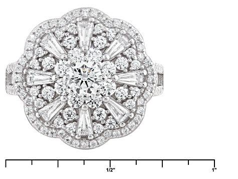 Pre-Owned White Cubic Zirconia Rhodium Over Sterling Silver Ring 3.88ctw