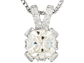 Pre-Owned Womens Solitaire Pendant White Moissanite 1.35ctw Platineve