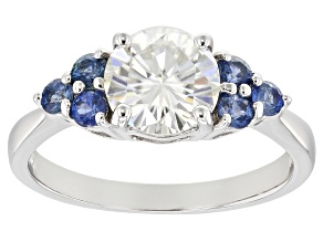 Pre-Owned Moissanite And Blue Sapphire 14k White Gold Ring    1.50ct DEW.