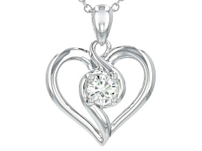Pre-Owned Moissanite Heart Pendant Platineve™ .60ct DEW