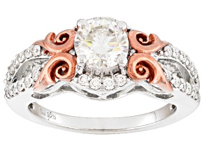 Pre-Owned Moissanite Platineve And 14k Rose Gold Over Silver Ring 1.12ctw DEW
