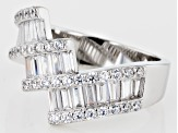 Pre-Owned White Cubic Zirconia Rhodium Over Sterling Silver Ring 2.13ctw