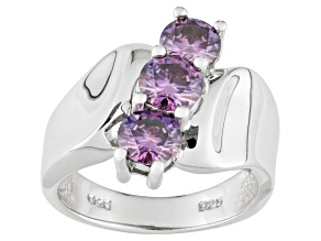 Pre-Owned Purple Moissanite Platineve 3 stone ring 1.80ctw DEW