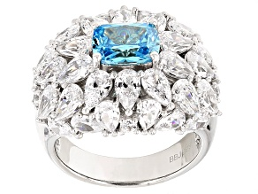 Pre-Owned Blue And White Cubic Zirconia Rhodium Over Sterling Silver Ring 10.06ctw