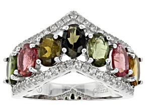Pre-Owned Multi-Tourmaline Sterling Silver Ring 3.52ctw