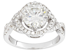 Pre-Owned Moissanite Fire® 3.20ct Diamond Equivalent Weight Round, Platineve™ Ring