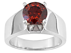 Pre-Owned Red Moissanite Platineve Ring 1.90ct DEW