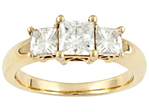 Pre-Owned MOISSANITE FIRE® 1.60CT DEW SQUARE BRILLIANT, 14K YELLOW GOLD OVER STERLING SILVER RING