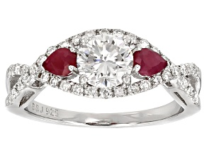 Pre-Owned Moissanite Fire® 1.18ctw DEW Round And Pear Shape .40ctw Ruby Platineve™ Ring